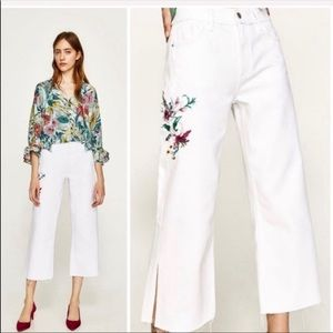 Zara embroidered floral White Raw Hem Jeans NWT